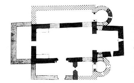 Planta de una nave con ábside prerrománica. Sant Quirze de Pedret Planta