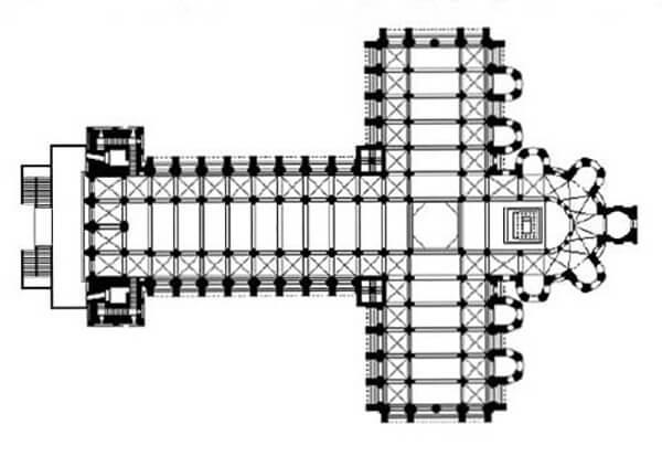 Planta basilical amb transsepte en forma de creu llatina. Catedral de Santiago de Compostela