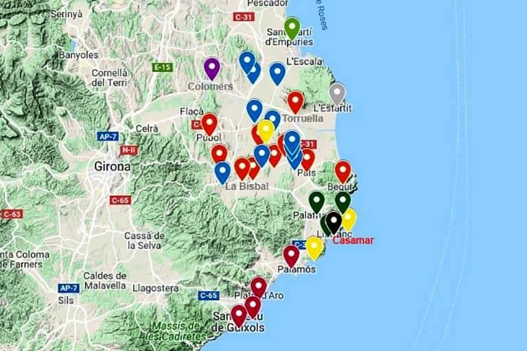 Hotel Casamar Llafranc Mapa de visitas (Google maps 2019-10-18)