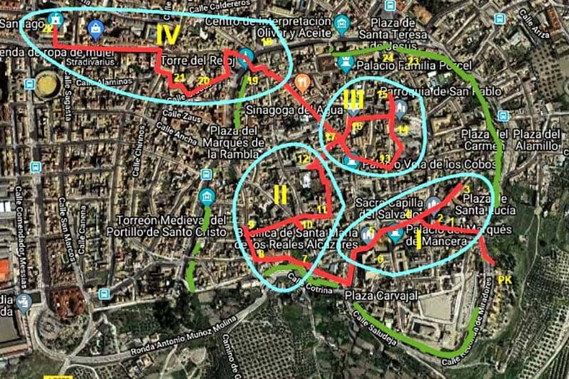 Ubeda muralla, circuito y areas (Google maps 2019-02-11)m2