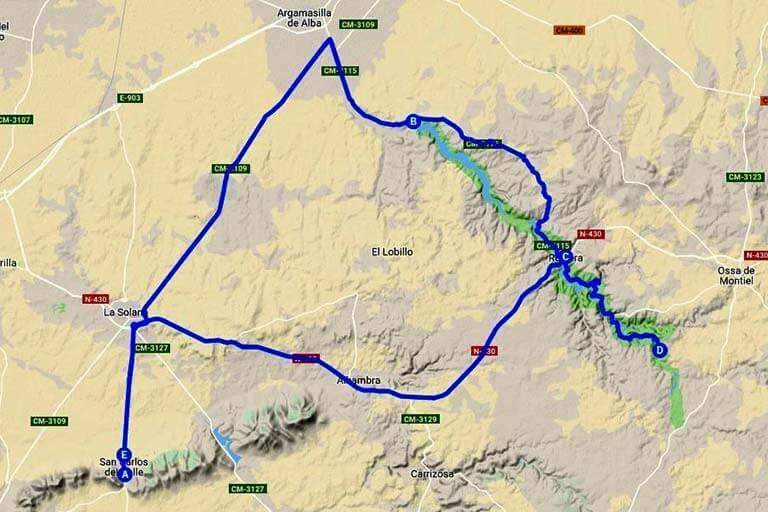 Ruta Lagunas de Ruidera (Google maps 2019-08-08)