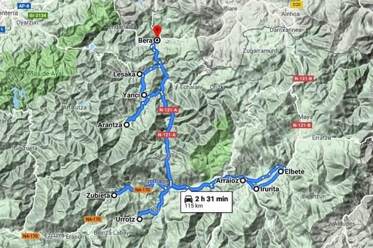Salida Valle Bidasoa-Valle de Baztan (Google maps 2019-09-13)