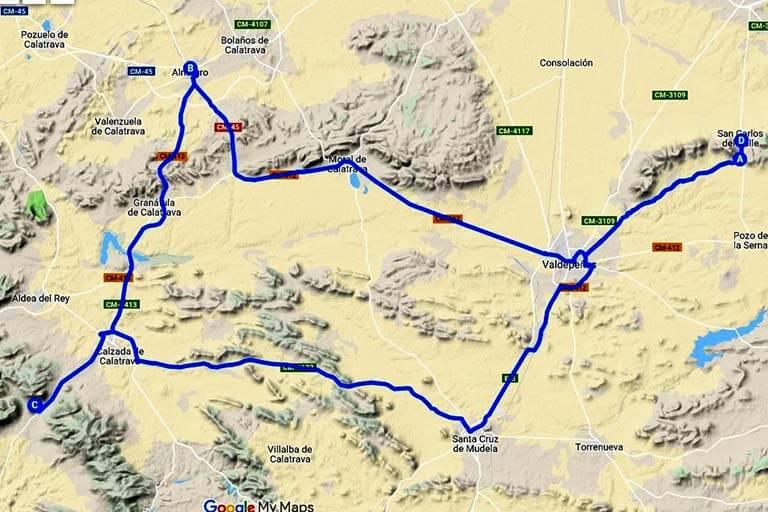 Ruta Almagro-Castillo de Calatrava la Nueva (Google maps 2019-08-08)
