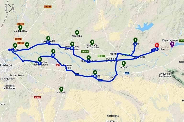 Ruta pueblos de colonizacion Plan Badajoz (Google maps 2019-07-11)
