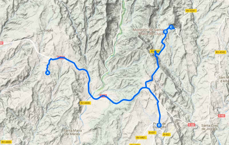 Ruta Lluça (Google maps 2018-04-28)