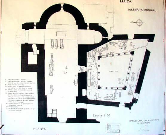 Planta del monestir de Sta Maria de Lluçà