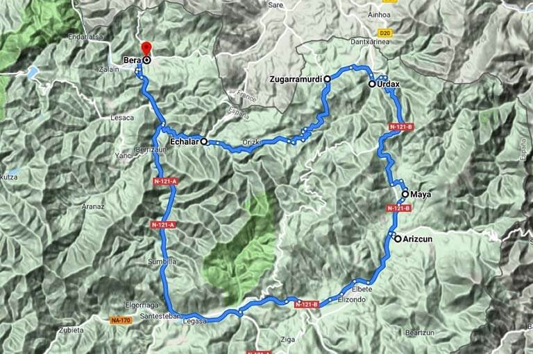 Salida a Zugarramurdi (Google maps 2019-09-13)