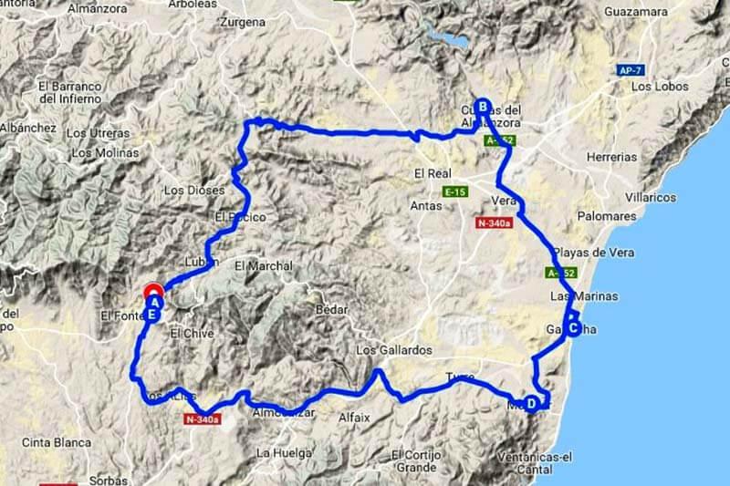 Ruta por el Levante Almeriense (Google-maps-2019-04-30)